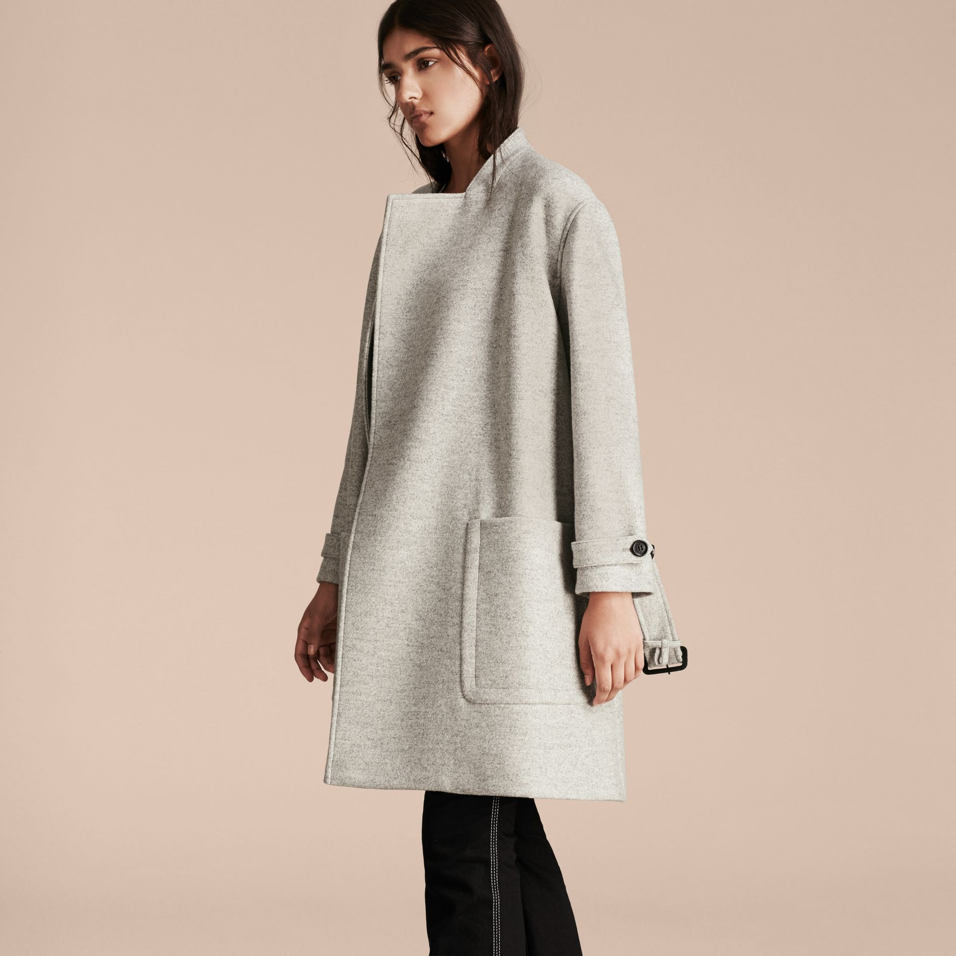 Pale grey melange Wool Belted Wrap Coat - gallery image 6