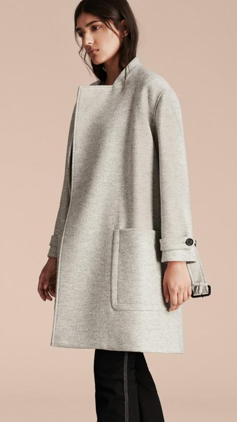 Pale grey melange Wool Belted Wrap Coat - Image 10