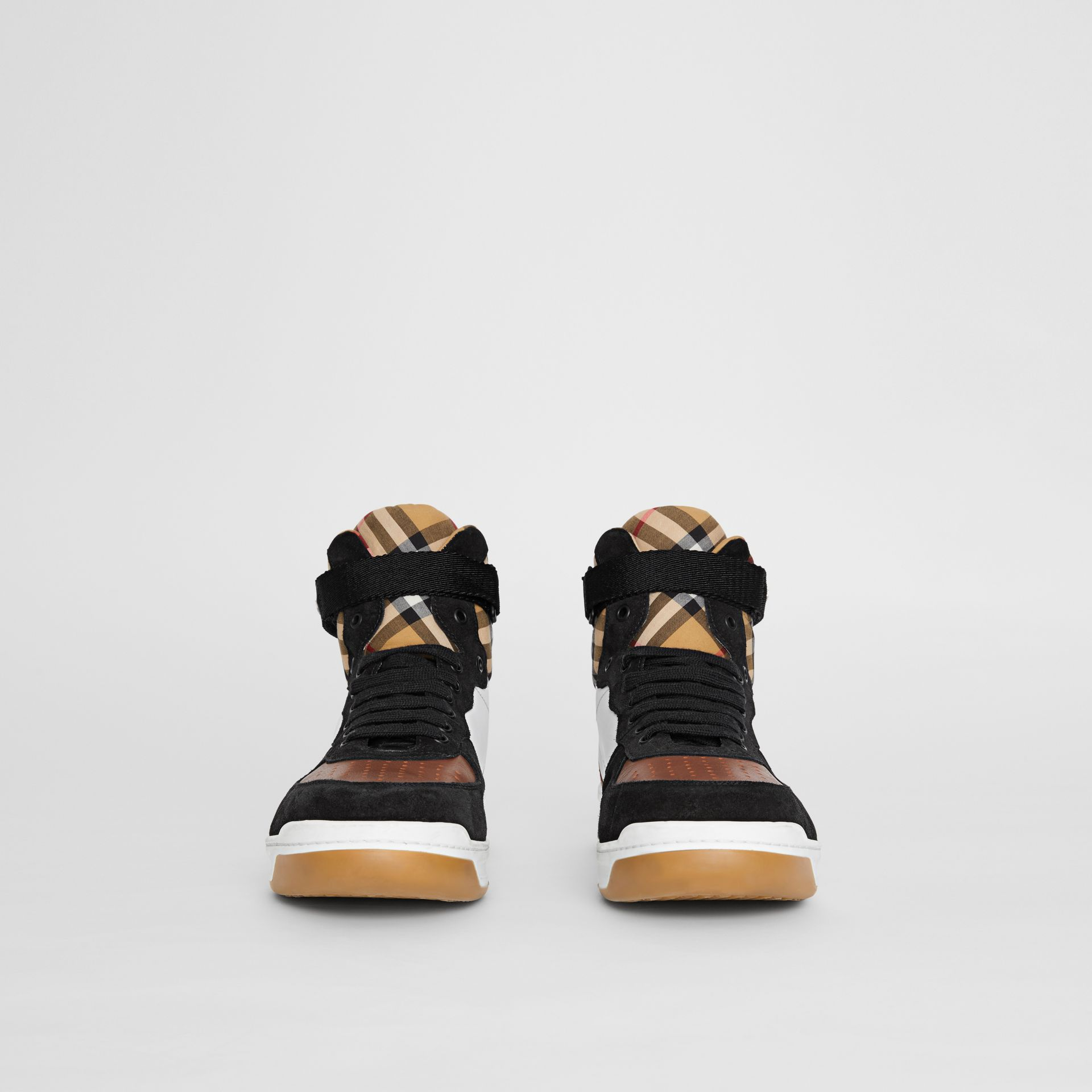 Leather and Suede High-top Sneakers in Optic White/camel - Men | Burberry Singapore - gallery image 2