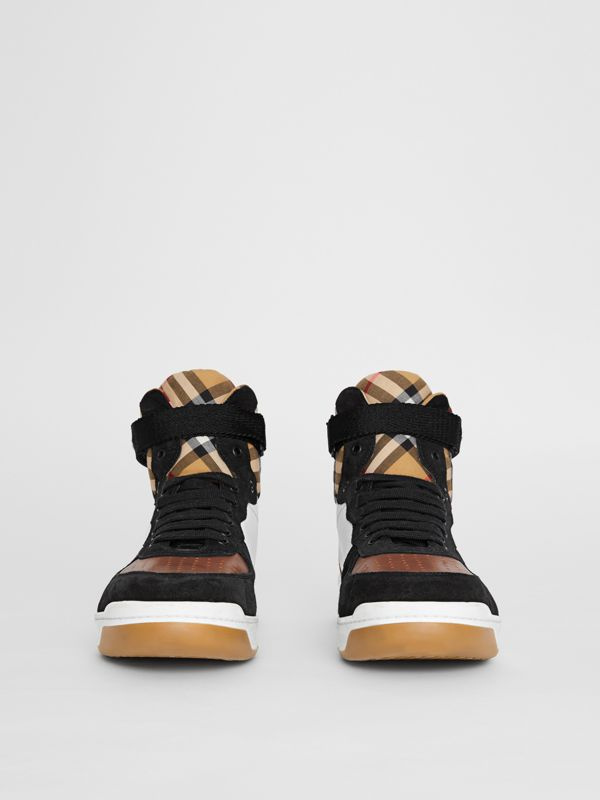 Leather and Suede High-top Sneakers in Optic White/camel - Men | Burberry Singapore - cell image 2