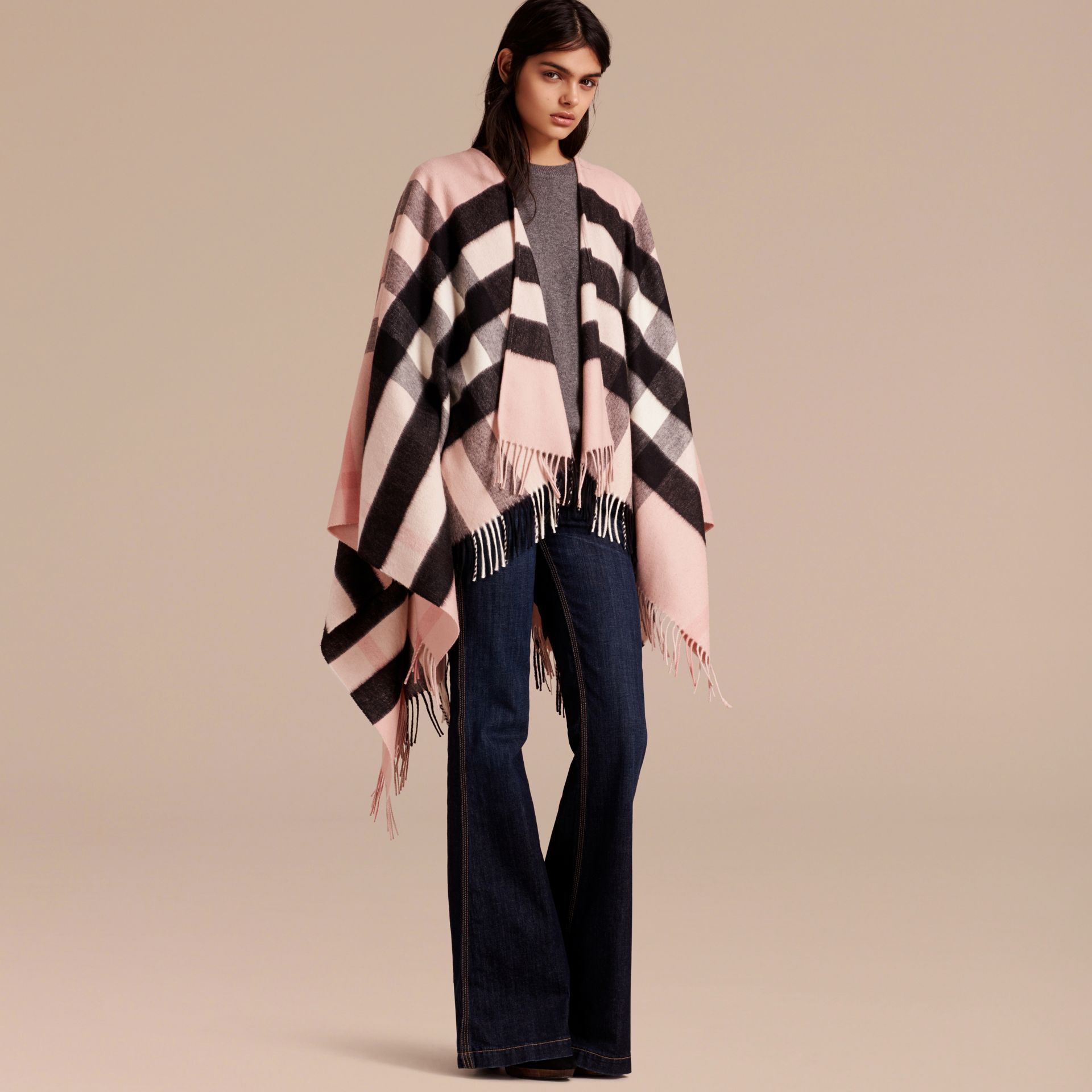Ash rose Check Cashmere and Wool Poncho Rose - gallery image 8