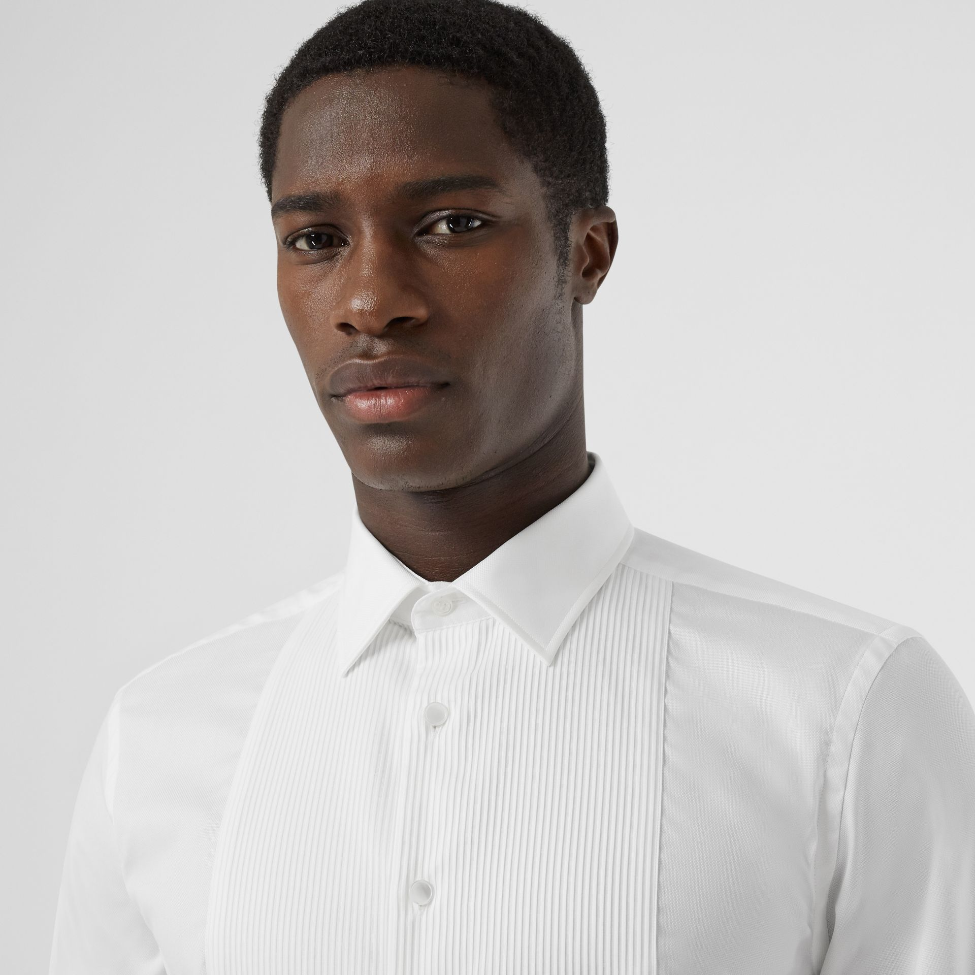 Ribbed Bib Cotton Oxford Dress Shirt in White - Men | Burberry - gallery image 1