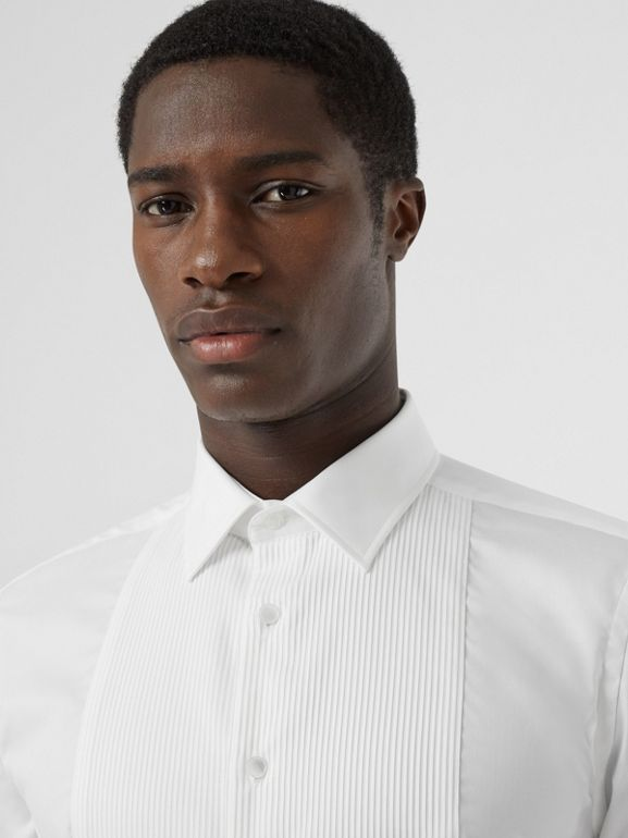 Ribbed Bib Cotton Oxford Dress Shirt in White - Men | Burberry - cell image 1