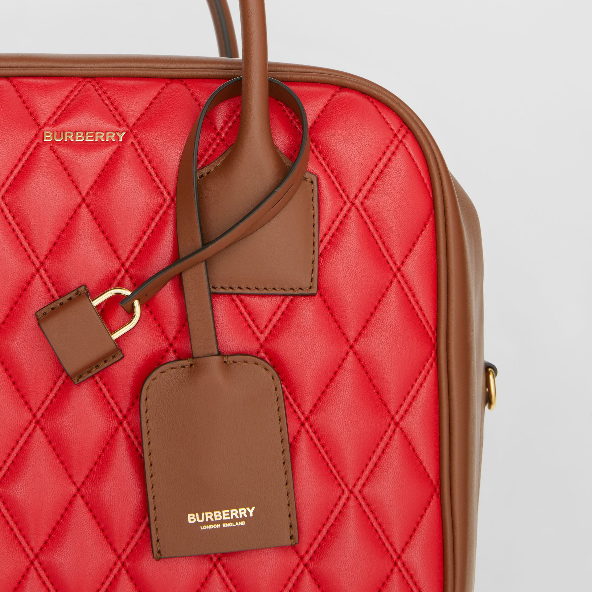 Medium Quilted Lambskin Cube Bag in Bright Red - Women | Burberry United Kingdom - gallery image 1