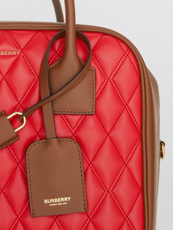 Medium Quilted Lambskin Cube Bag in Bright Red - Women | Burberry United Kingdom - cell image 1