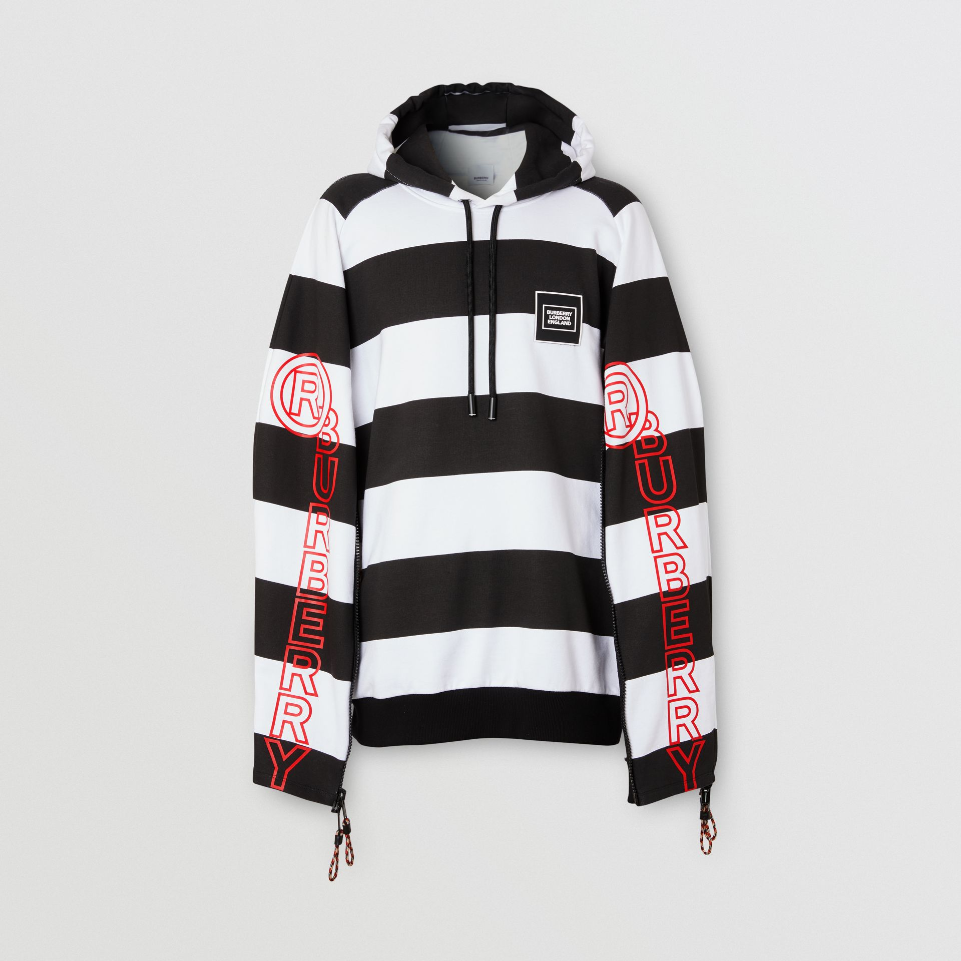 Zip Detail Logo Print Striped Cotton Hoodie in Black/white | Burberry - gallery image 3