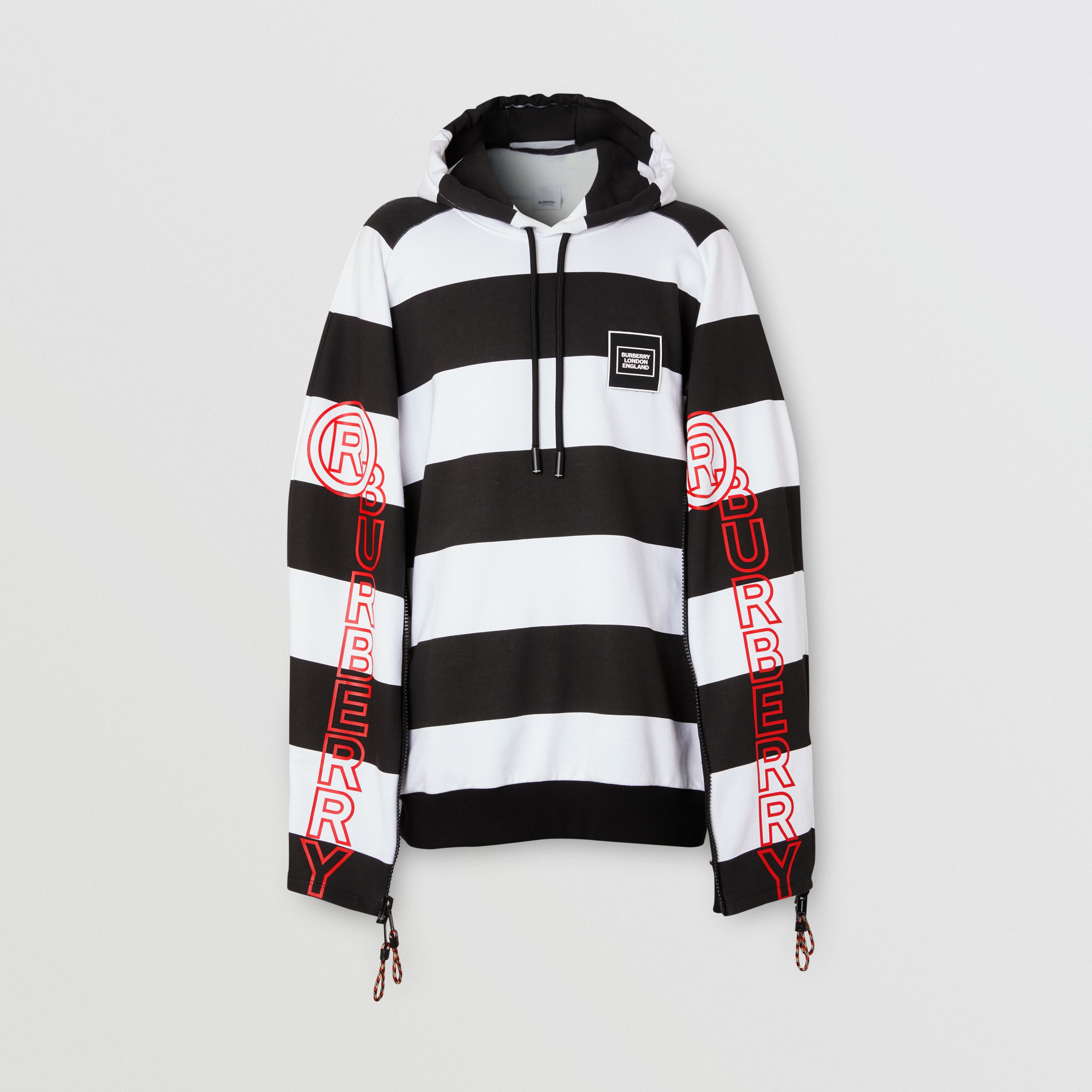 Zip Detail Logo Print Striped Cotton Hoodie in Black/white - Men | Burberry - 4