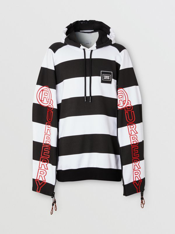 Zip Detail Logo Print Striped Cotton Hoodie in Black/white | Burberry - cell image 3