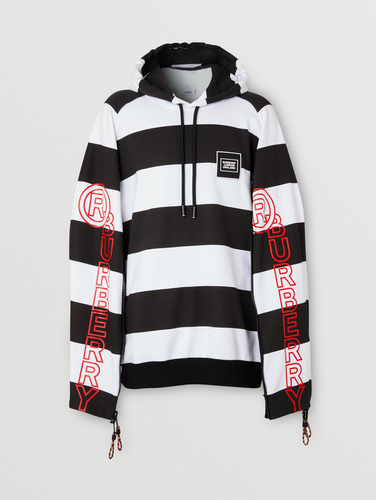 Zip Detail Logo Print Striped Cotton Hoodie in Black/white
