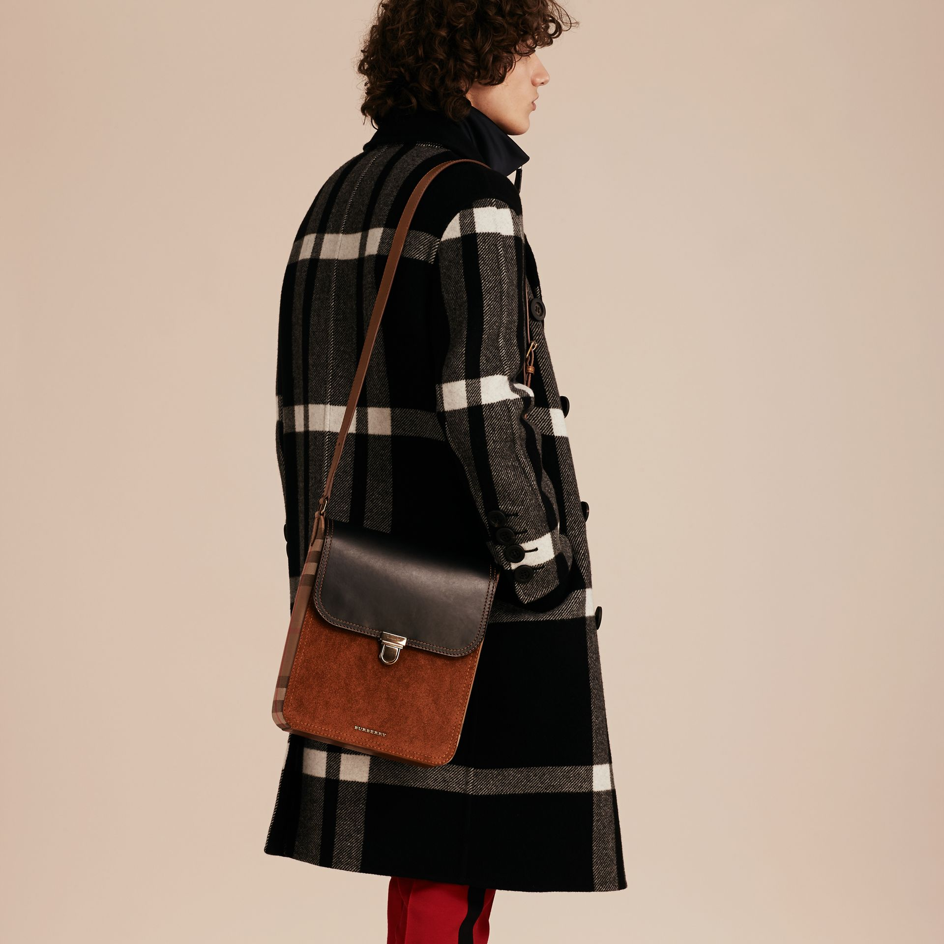 Black The Medium Satchel in Leather and House Check - gallery image 4