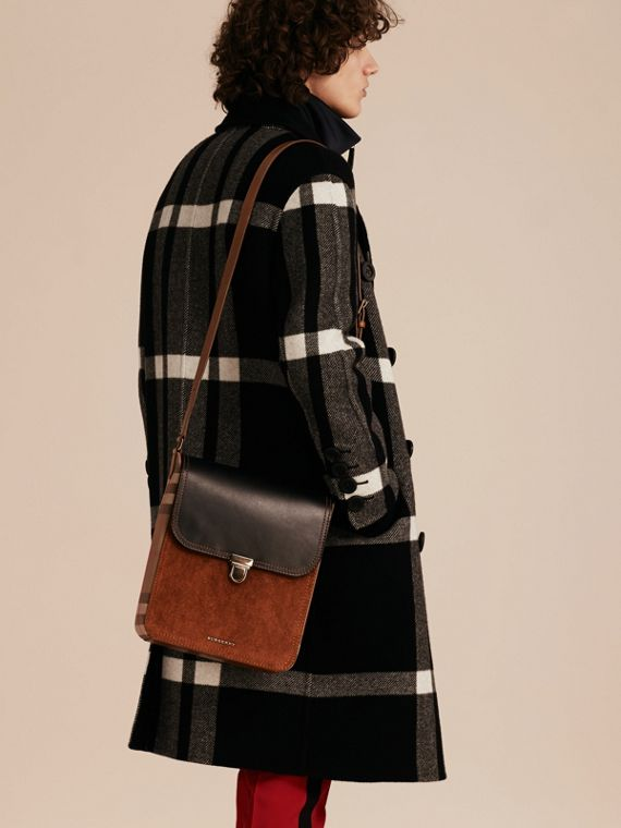 Black The Medium Satchel in Leather and House Check - cell image 3