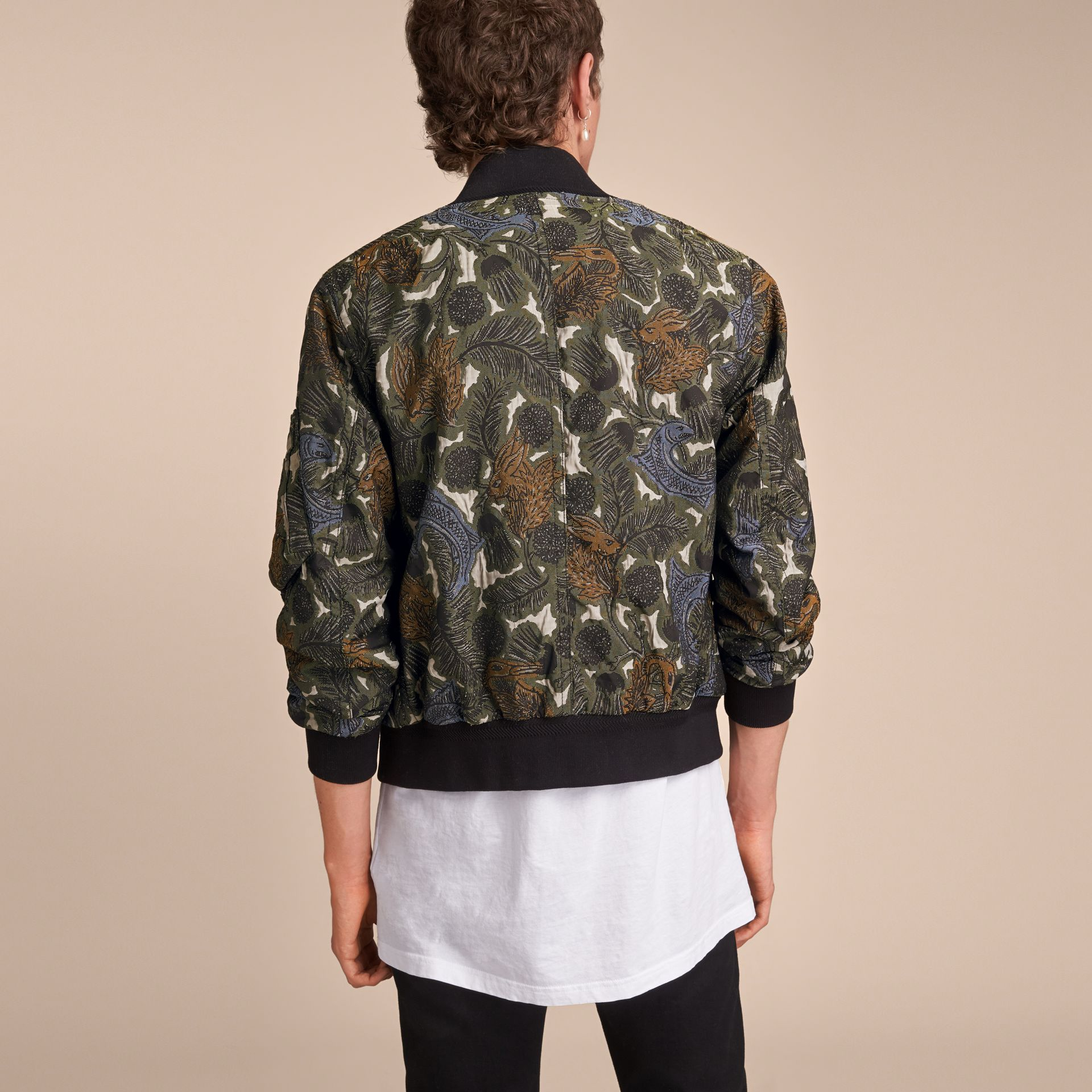 Beasts Print Lightweight Bomber Jacket in Sage Green - Men | Burberry - gallery image 3