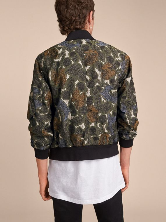 Beasts Print Lightweight Bomber Jacket in Sage Green - Men | Burberry - cell image 2