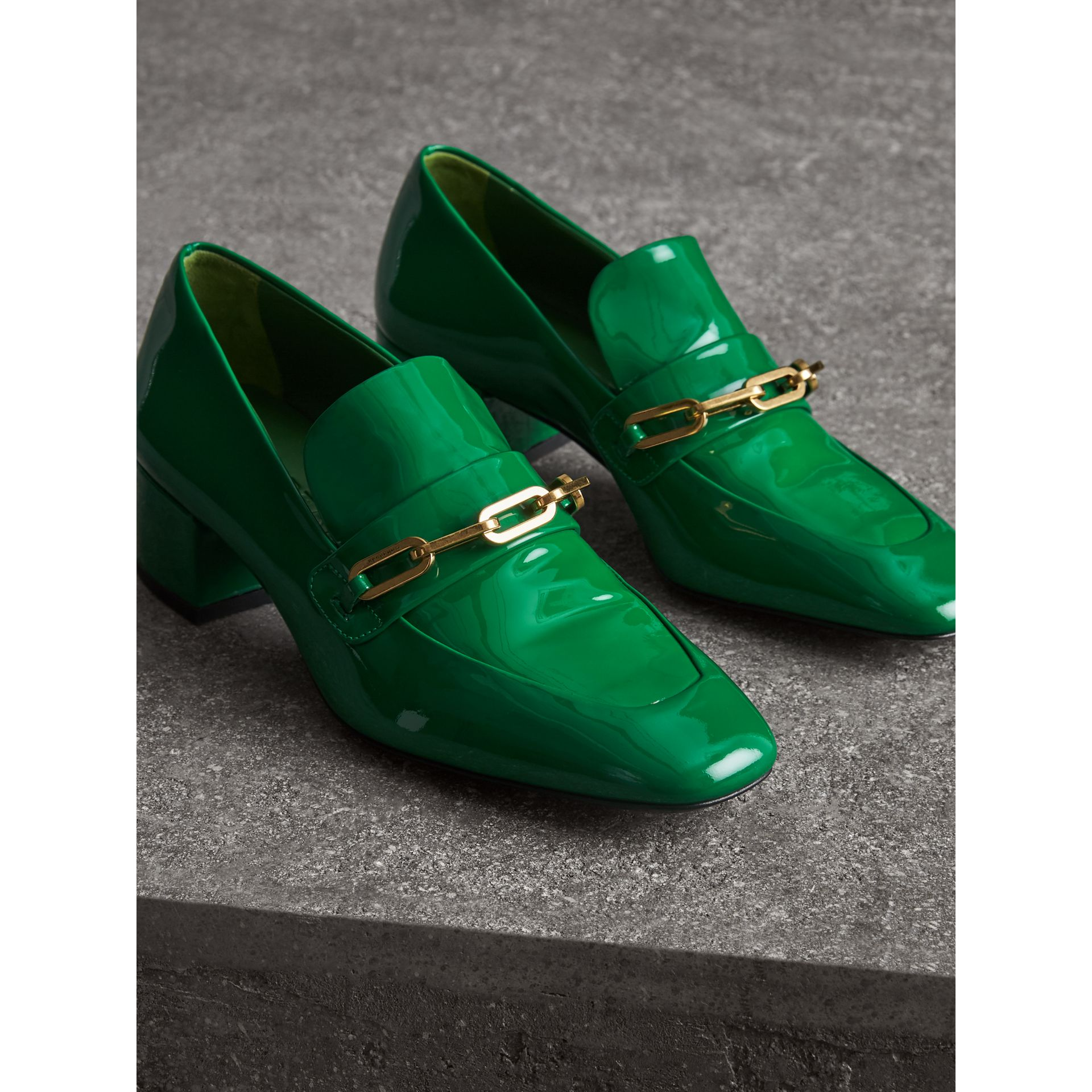 Link Detail Patent Leather Block-heel Loafers in Bright Pigment Green - Women | Burberry - gallery image 4