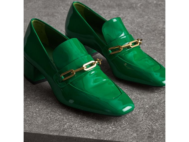 Link Detail Patent Leather Block-heel Loafers in Bright Pigment Green - Women | Burberry - cell image 4