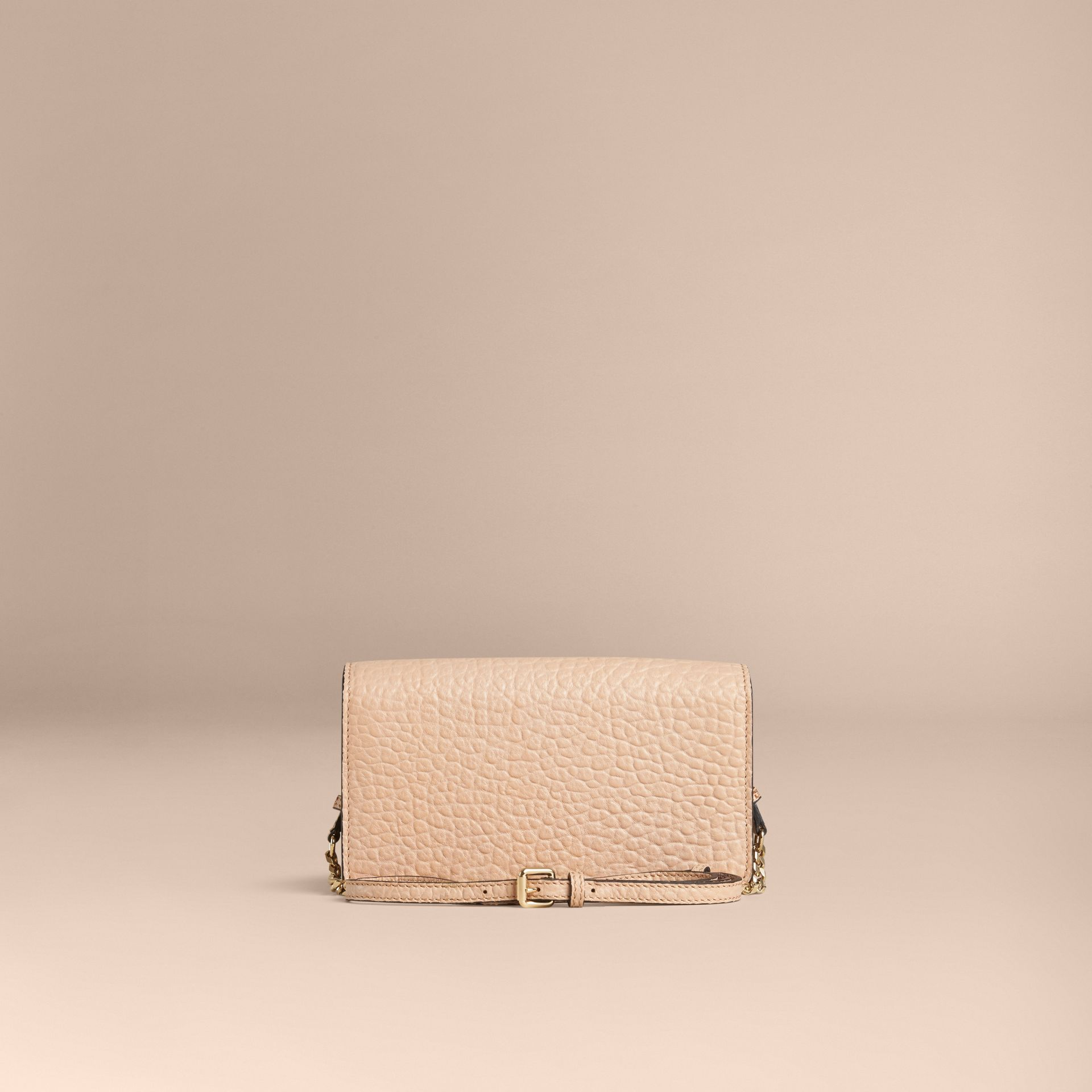 Pale apricot Signature Grain Leather Clutch Bag with Chain - gallery image 2