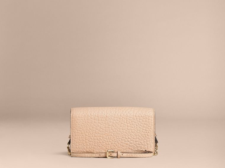 Pale apricot Signature Grain Leather Clutch Bag with Chain - cell image 1