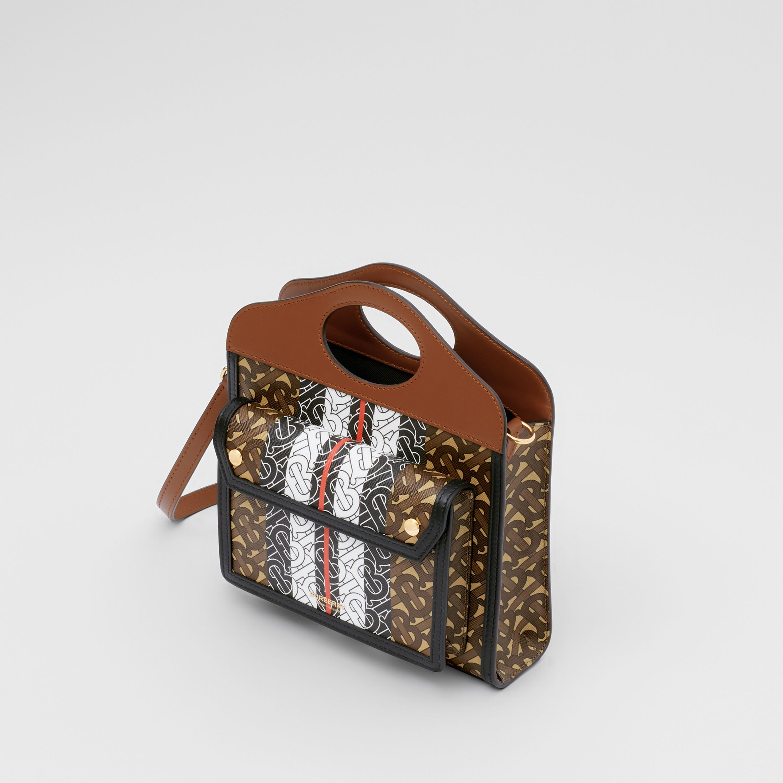 Mini Monogram Stripe E-canvas Pocket Bag in Bridle Brown - Women | Burberry Australia - 4