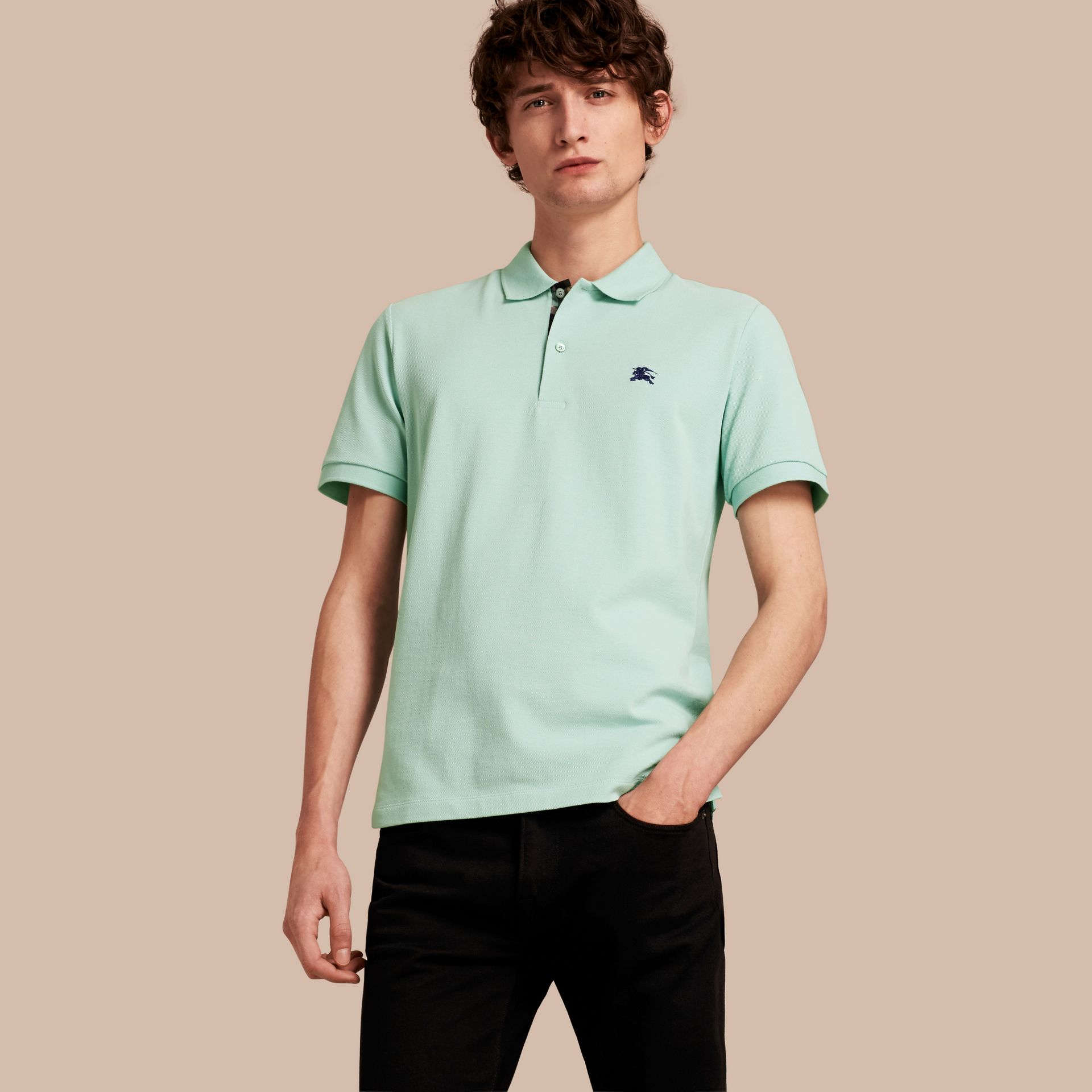 Printed Check Placket Cotton Piqué Polo Shirt Light Green Opal - gallery image 1