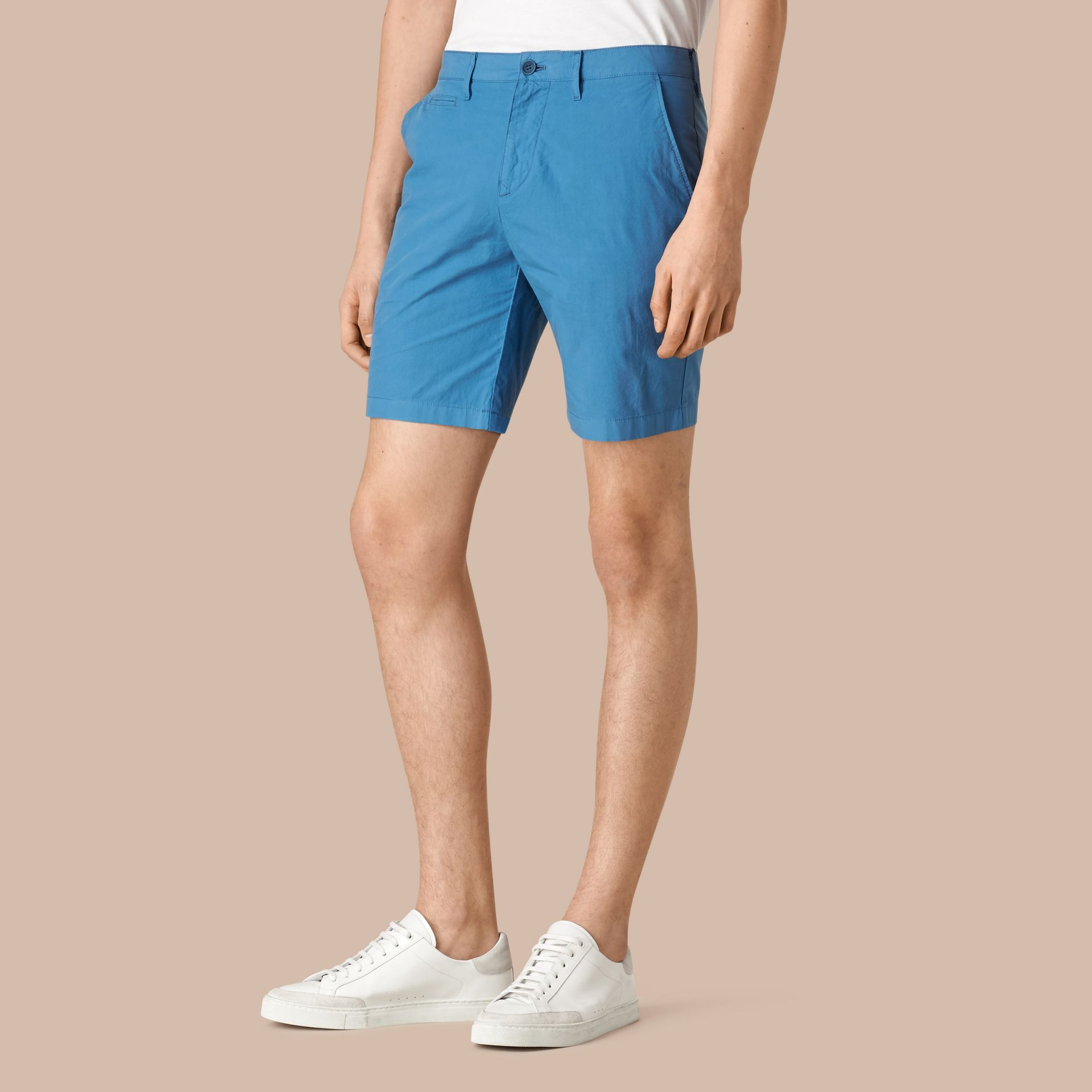 Lupin blue Cotton Poplin Chino Shorts Lupin Blue - gallery image 1