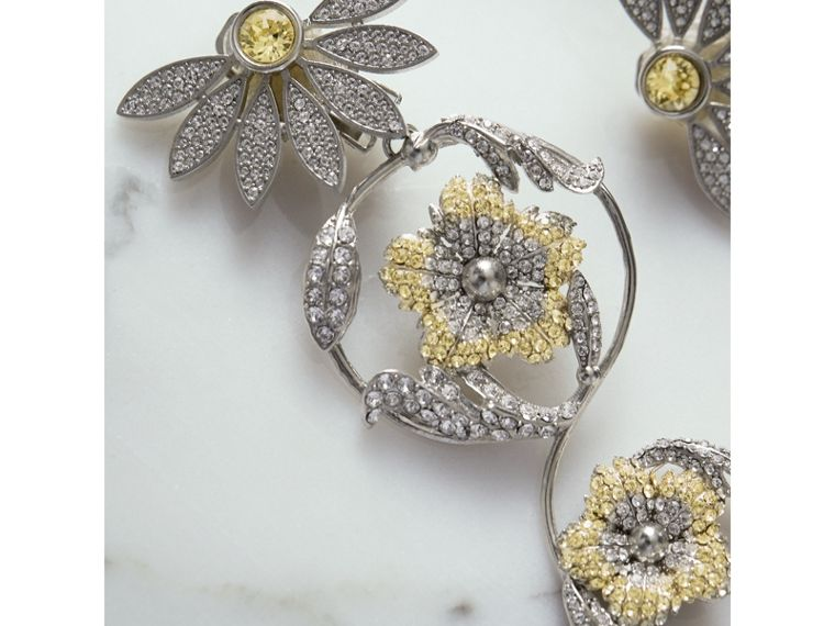 Long Crystal Half-daisy Drop Earring and Stud Set  in Iris Yellow - Women | Burberry - cell image 1