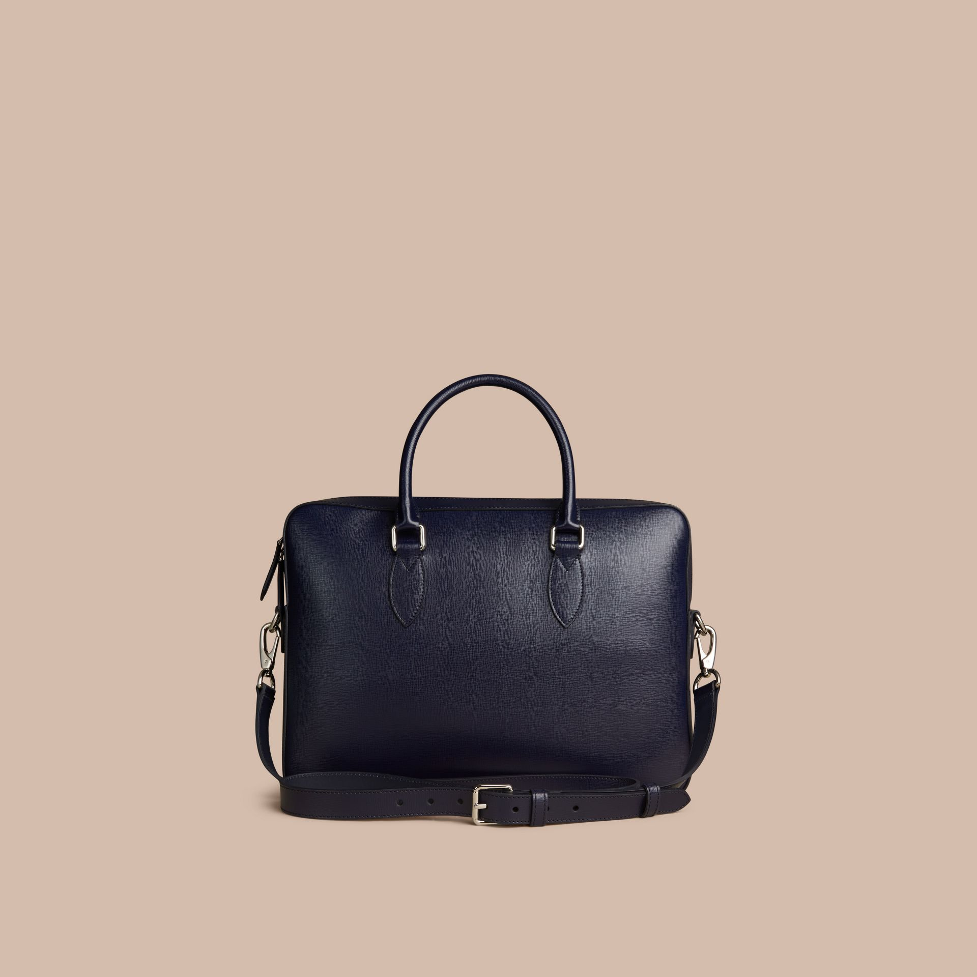Medium London Leather Briefcase Dark Navy - gallery image 4
