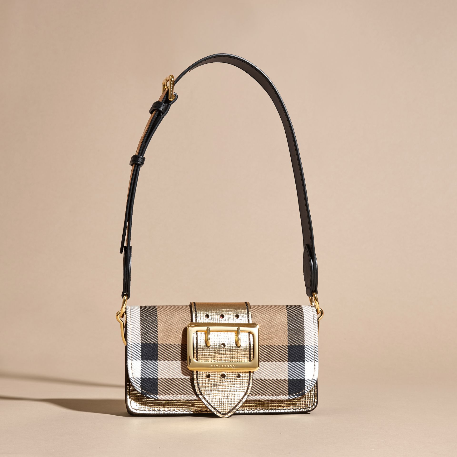 The Small Buckle Bag in House Check and Leather Gold - gallery image 9