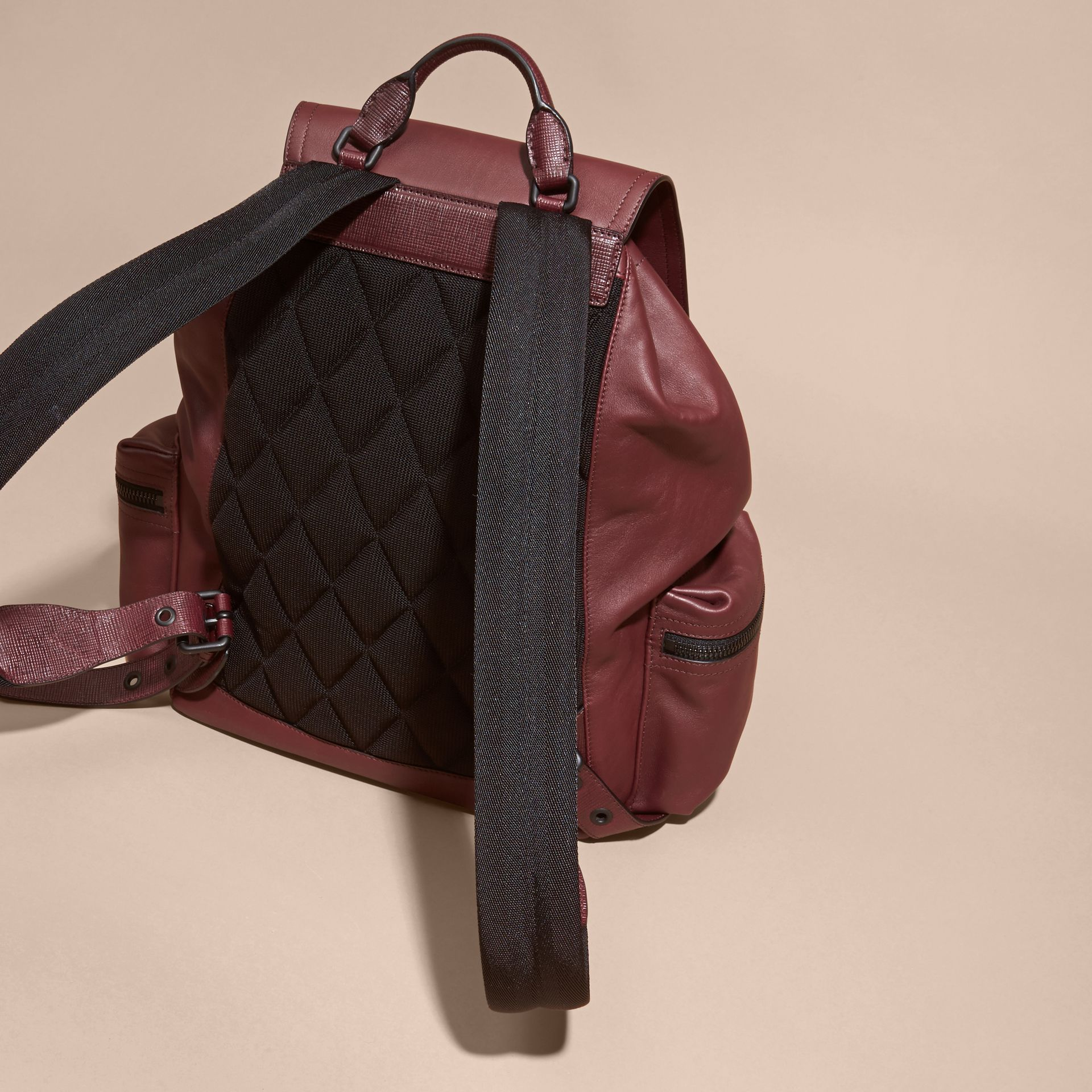 The Large Rucksack in Water-repellent Leather in Burgundy Red - gallery image 6