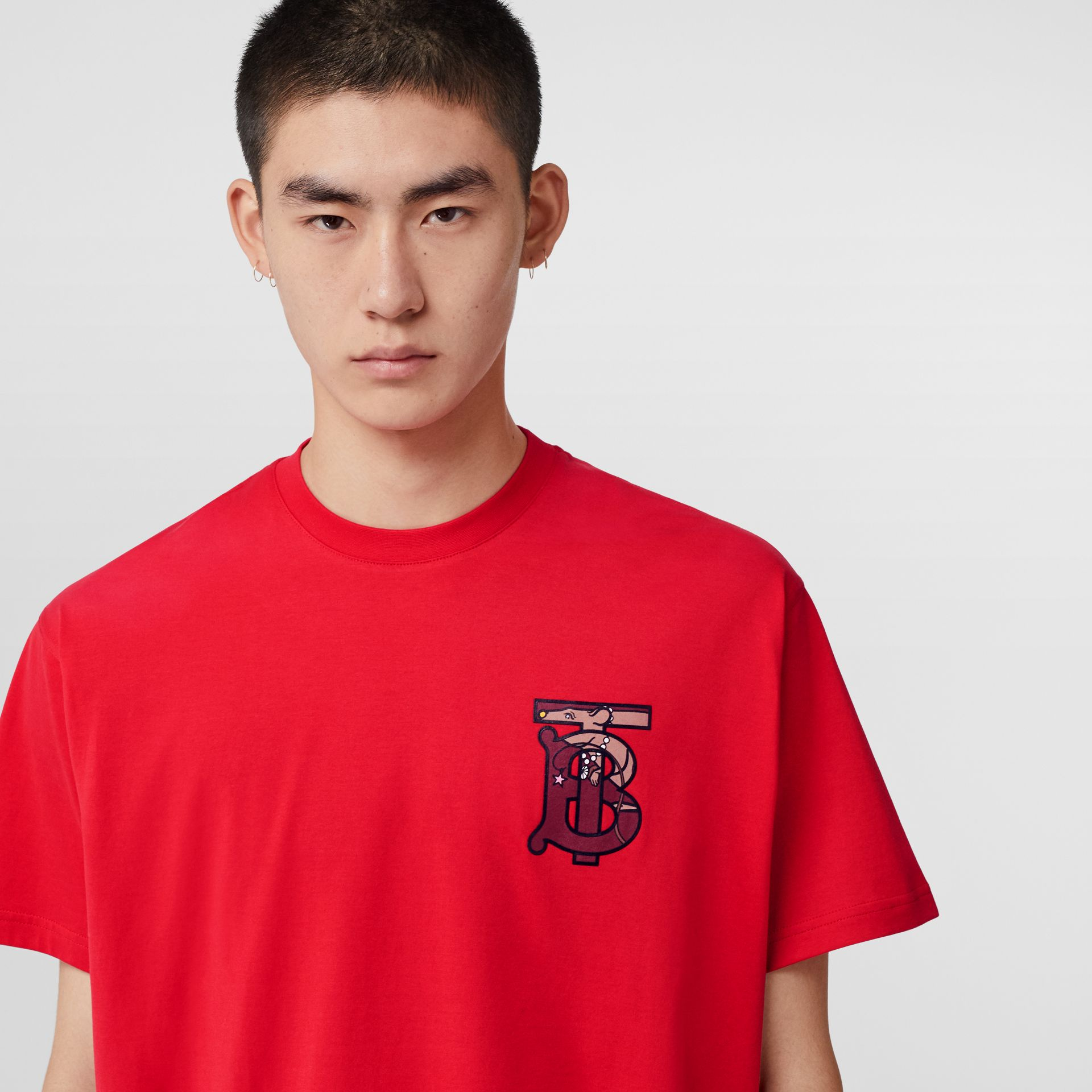 Monogram Motif Cotton Oversized T-shirt in Racing Red - Men | Burberry United Kingdom - gallery image 1