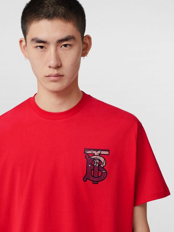 Monogram Motif Cotton Oversized T-shirt in Racing Red - Men | Burberry United Kingdom - cell image 1