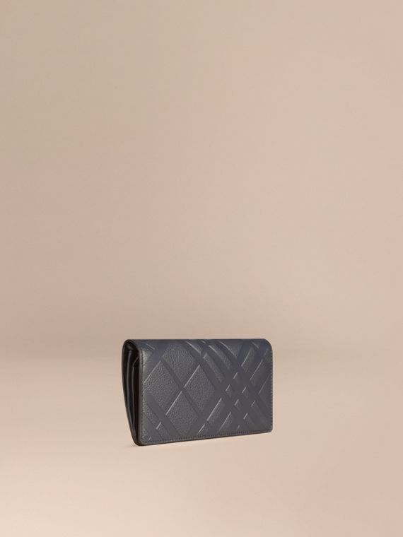 Embossed Check Leather Continental Wallet Dark Pewter Blue
