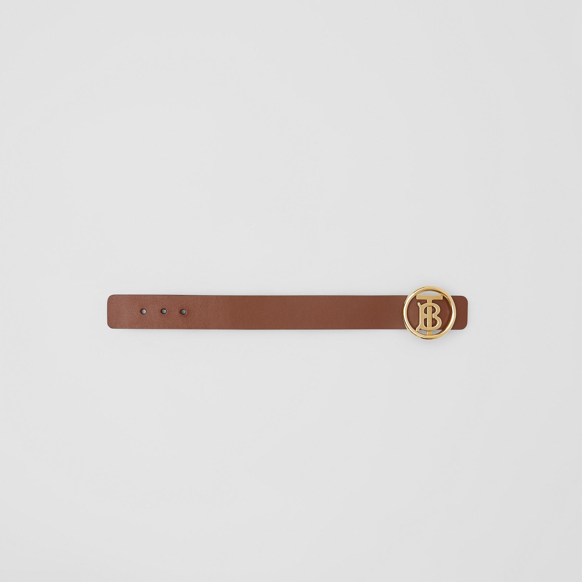 Monogram Motif Leather Bracelet in Tan - Women | Burberry - gallery image 3