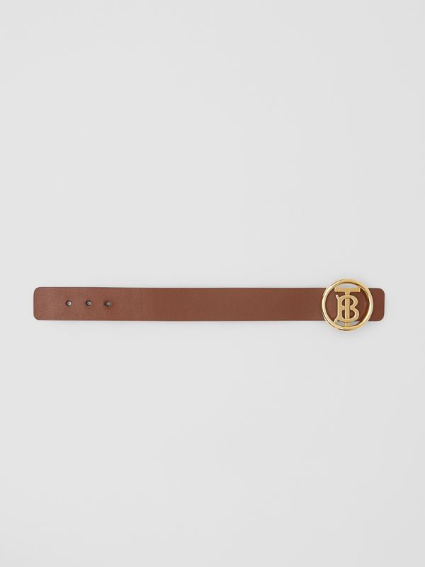 Monogram Motif Leather Bracelet in Tan - Women | Burberry United Kingdom - cell image 3