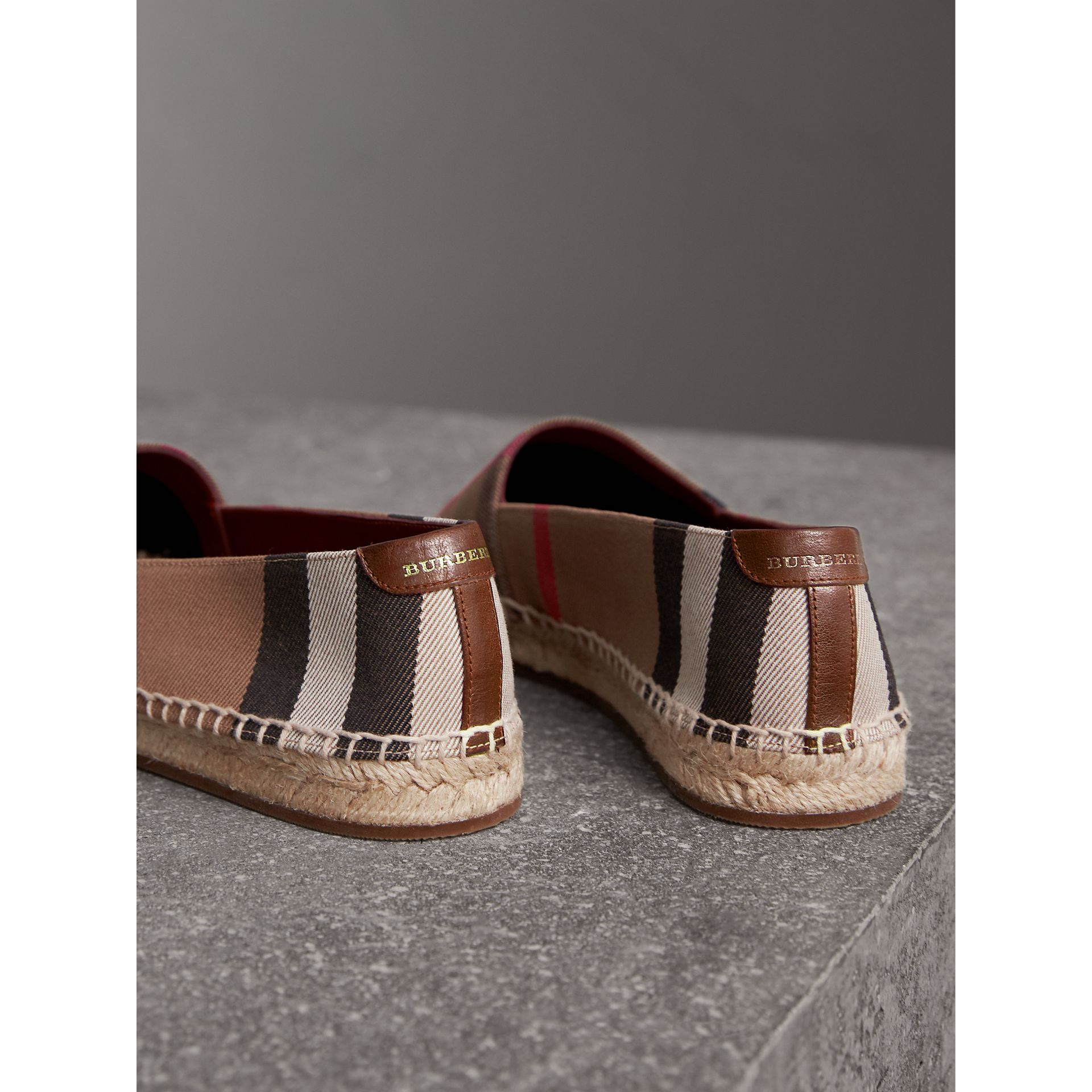 Check Linen Cotton Espadrilles in Dark Tan - Women | Burberry - gallery image 3