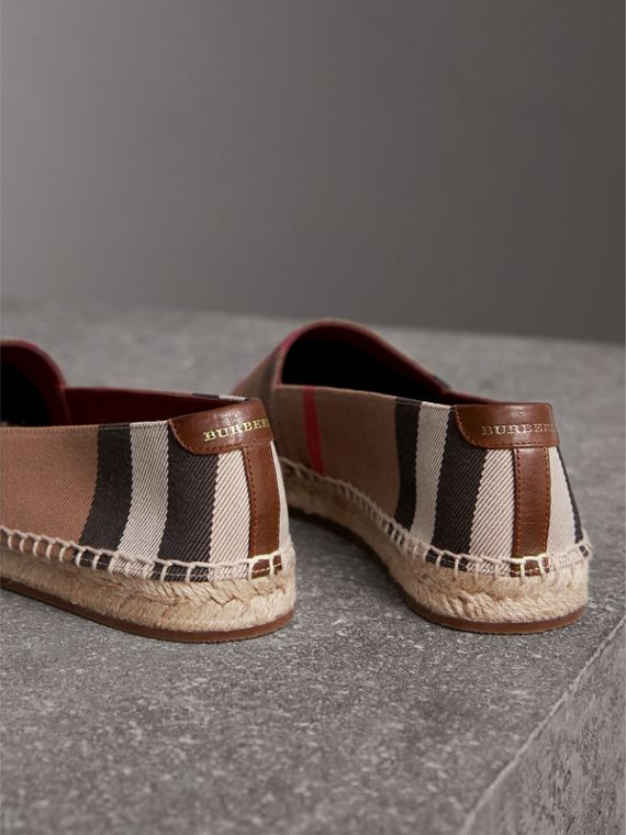 Check Linen Cotton Espadrilles in Dark Tan - Women | Burberry United States - cell image 2