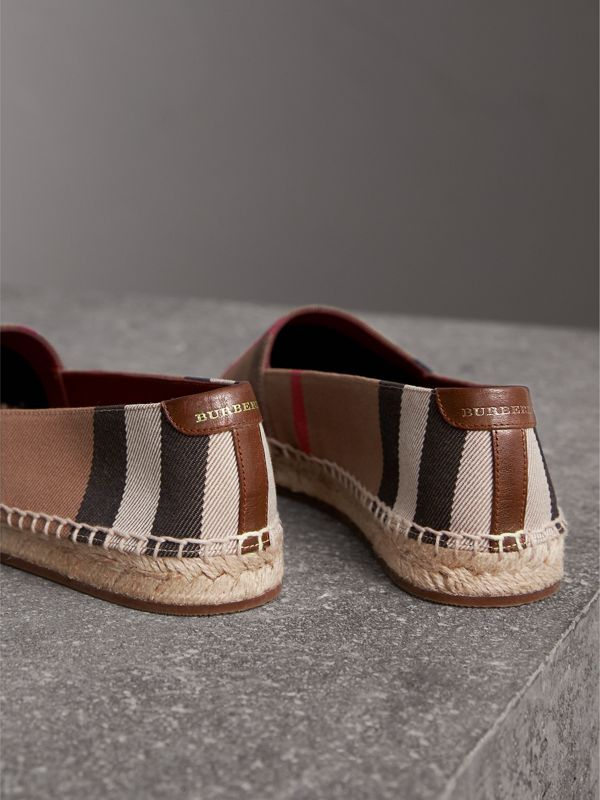 Check Linen Cotton Espadrilles in Dark Tan - Women | Burberry Hong Kong - cell image 2