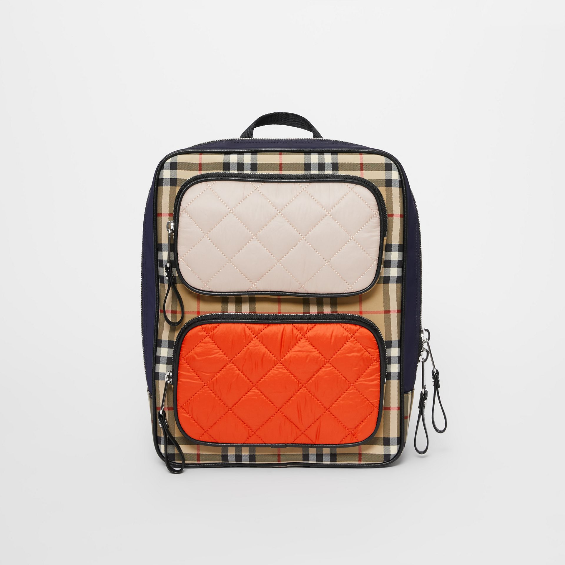 Colour Block Pocket Detail Vintage Check Backpack in Ice Pink/orange Red - Children | Burberry - gallery image 0