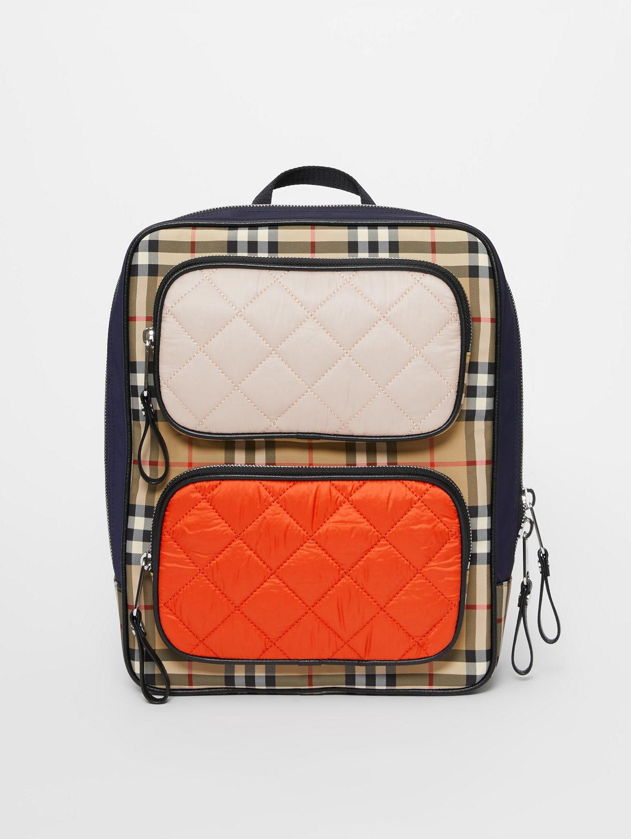 Colour Block Pocket Detail Vintage Check Backpack in Ice Pink/orange Red