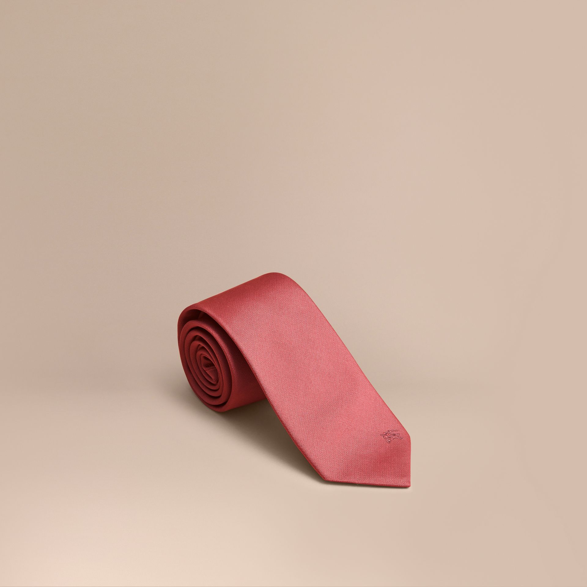 Modern Cut Silk Twill Tie in Bright Rose - Men | Burberry - gallery image 1
