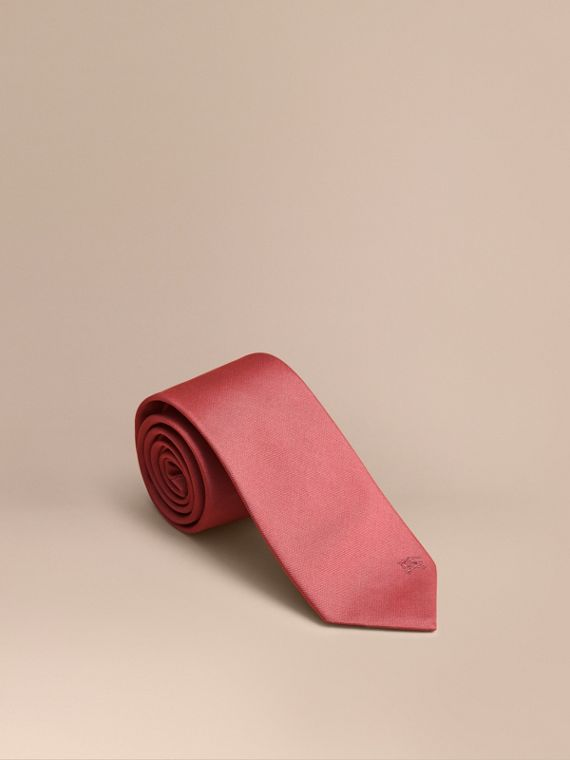 Modern Cut Silk Twill Tie Bright Rose