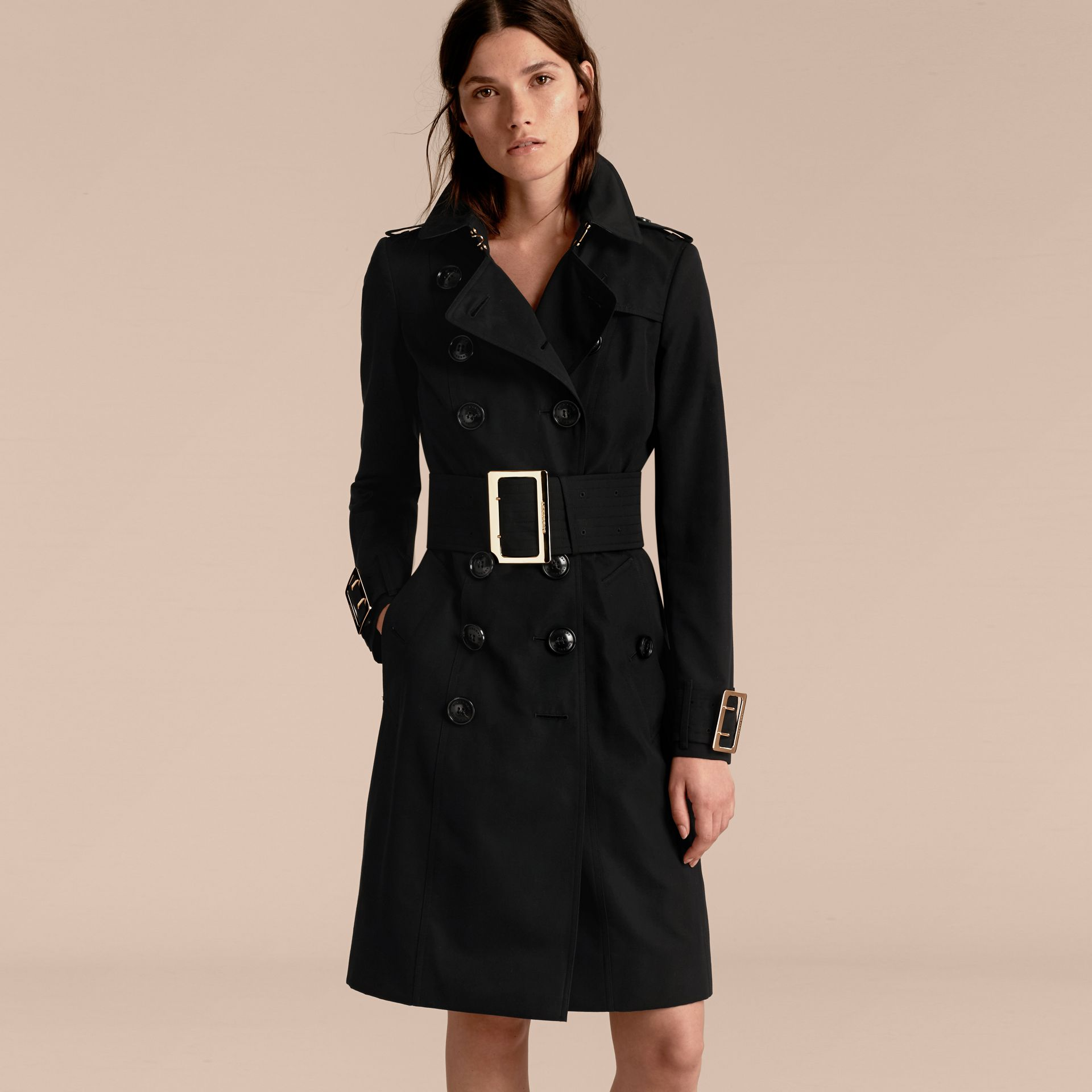 Cotton Gabardine Trench Coat with Oversize Buckles - gallery image 7