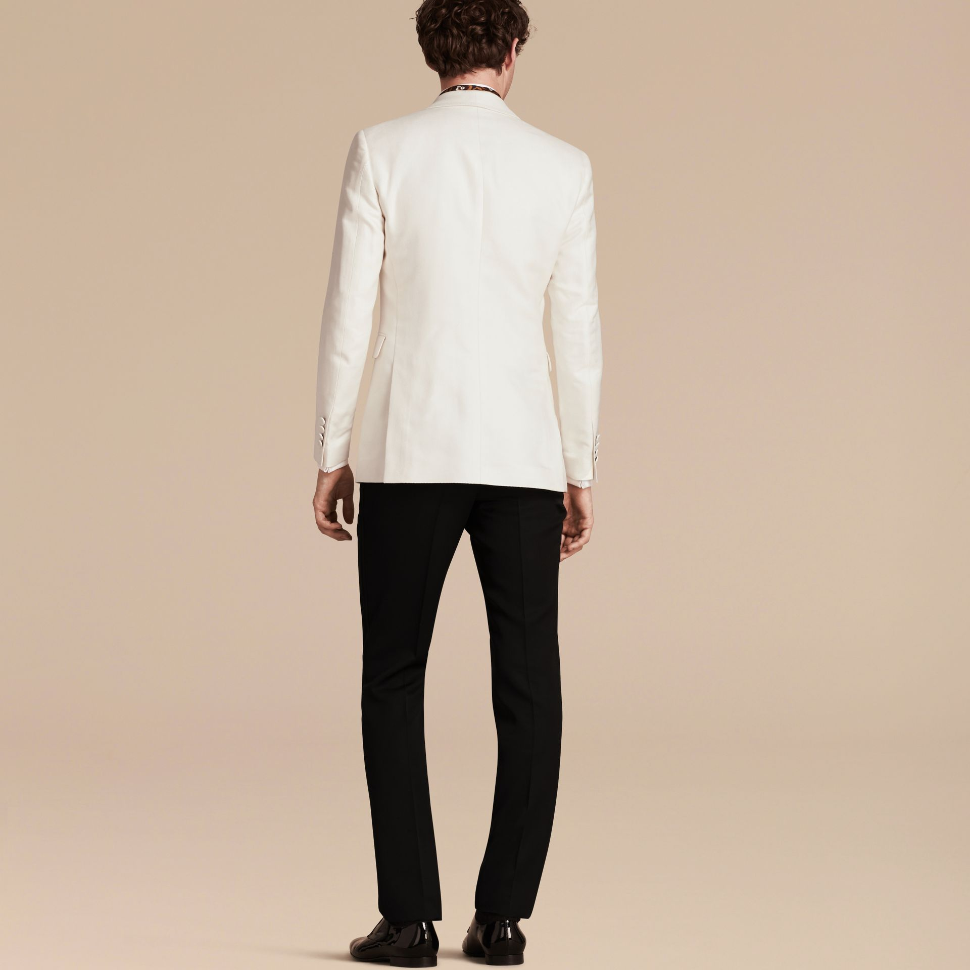 Natural white Slim Fit Cotton Silk Half-canvas Tuxedo Jacket - gallery image 3