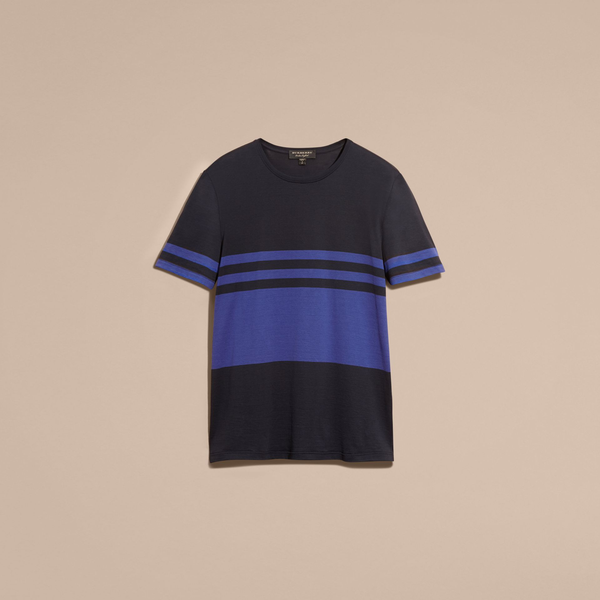 Navy Stripe Print Cotton T-shirt Navy - gallery image 4