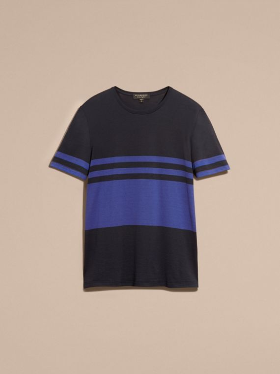 Navy Stripe Print Cotton T-shirt Navy - cell image 3