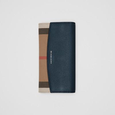 Burberry - Portefeuille continental en coton House check et cuir - 6