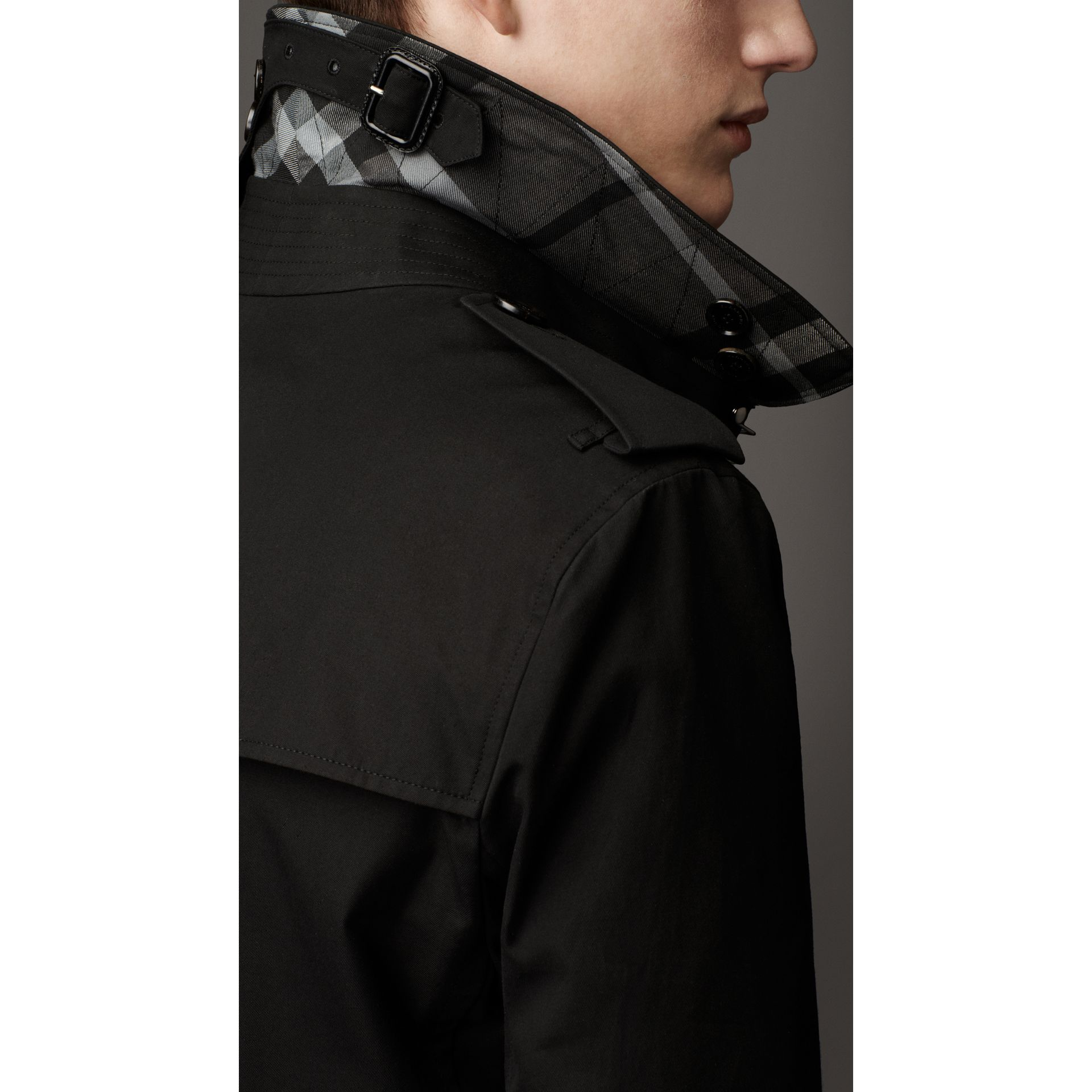Cotton Gabardine Trench Coat in Jet Black - Men | Burberry - gallery image 3