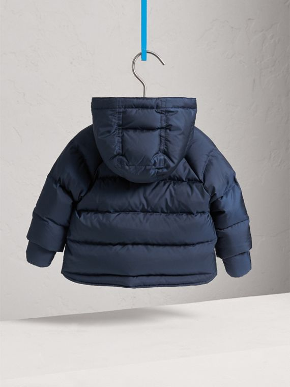 Hooded Down-filled Puffer Jacket with Mittens in Navy | Burberry - cell image 3