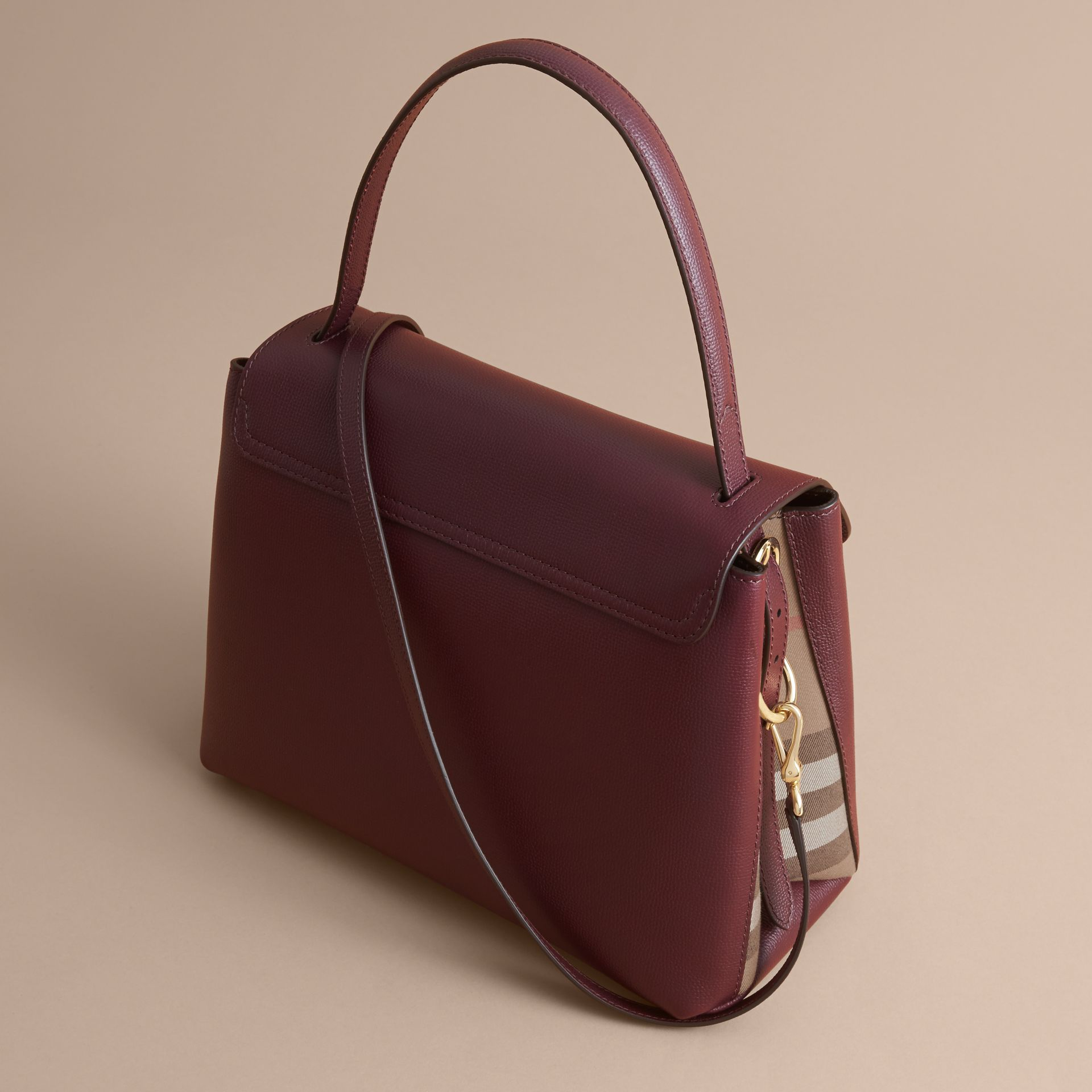 Medium Grainy Leather and House Check Tote Bag in Mahogany Red - Women | Burberry Singapore - gallery image 5