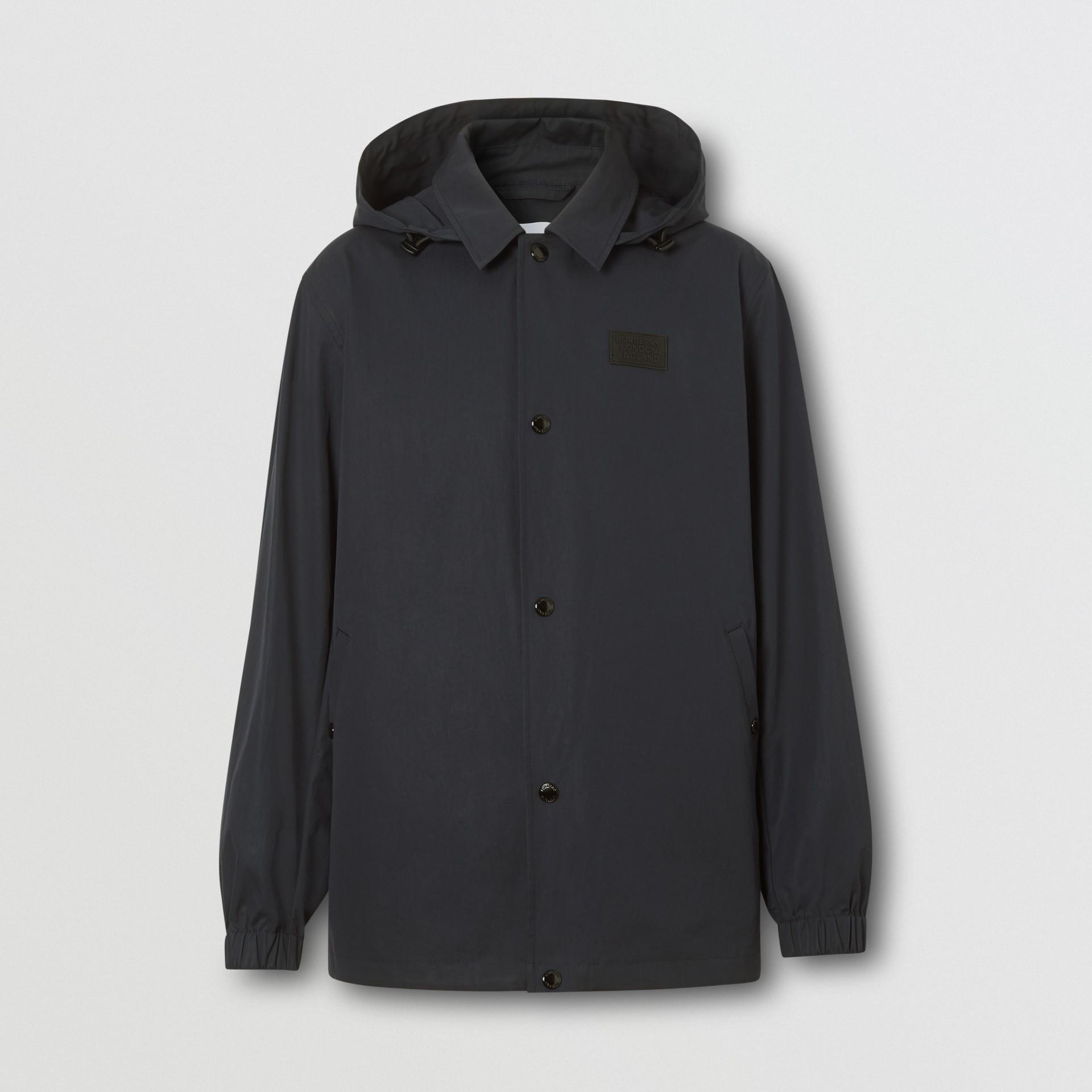 Detachable Hood Logo Appliqué Lightweight Jacket in Navy - Men | Burberry - gallery image 3