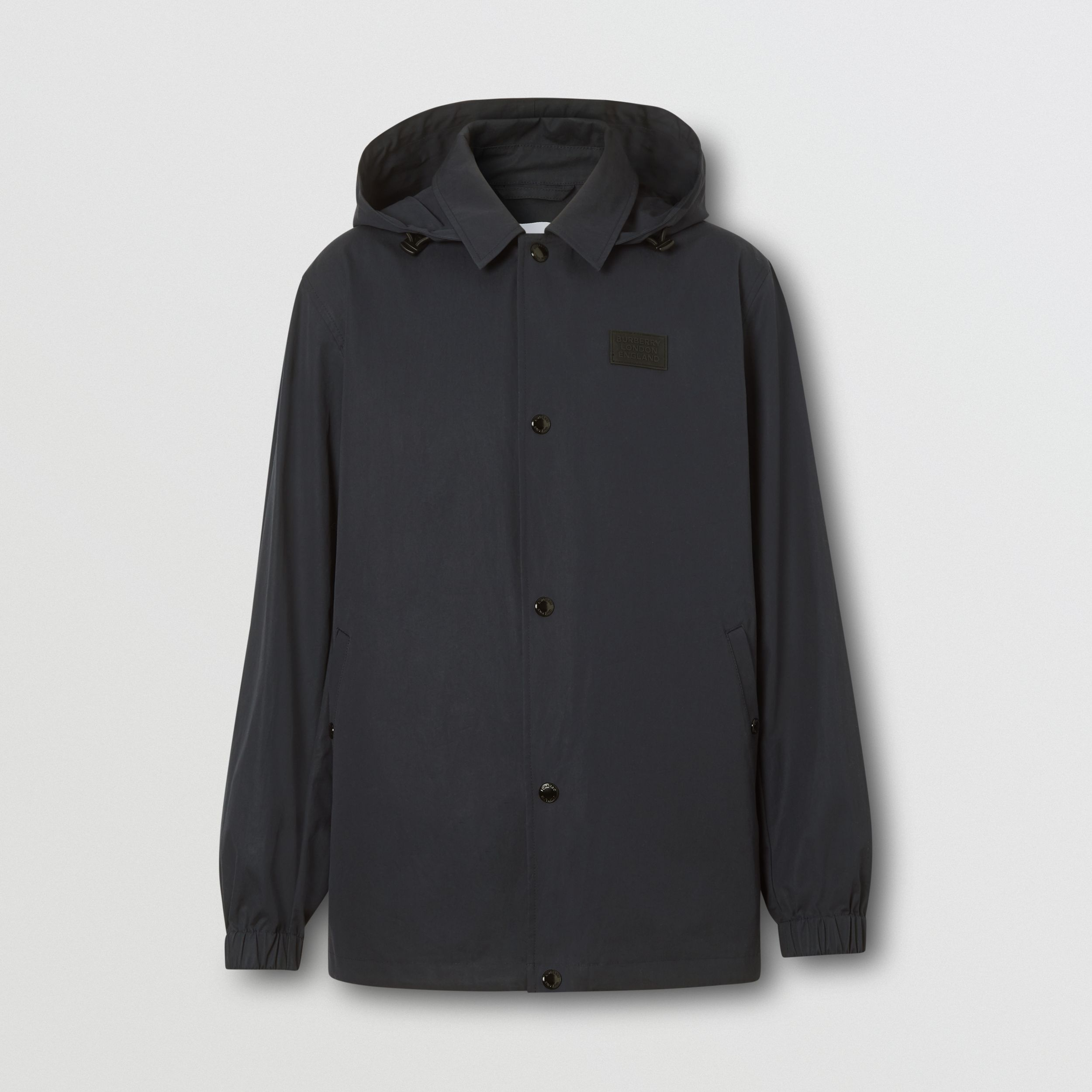 Detachable Hood Water-resistant Cotton Jacket in Navy - Men | Burberry - 4